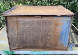 Antique-1900-s-Franklin-Sugar-Refining-Co-Store-DISPLAY-TIN-BOX-BIN-11387