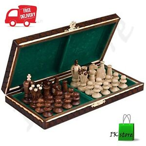 Wooden Chess Set Wood Board Hand Carved Crafted Pieces Made Folding Game Vintage