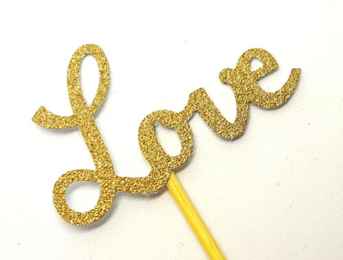 12 Gold Glitter LOVE Cupcake Toppers//PicksEngagement and Wedding Decorations