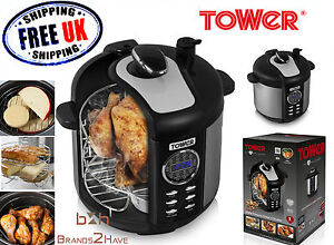 tower 6l non stick electric multi function digital smoker. Black Bedroom Furniture Sets. Home Design Ideas