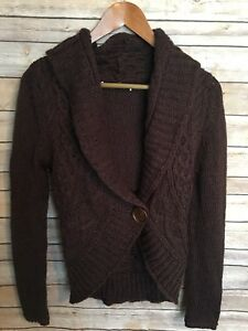 Love-By-Design-Womens-Brown-Shawl-Collar-Sweater-Sz-SMALL