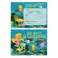 """Einladungskarten (8 Stück) Zum Ausfüllen Für Kindergeburtstag - """"meerjungfrau"""""""