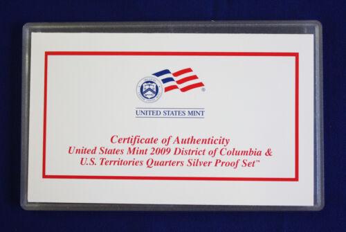 2009 US Mint SILVER Proof Quarters Set of 6 Quarters DOC and U.S Territories