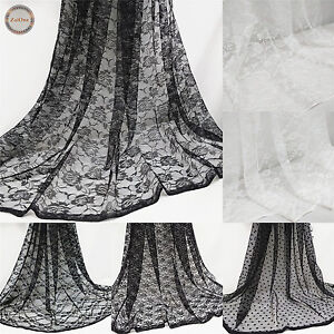 Vintage-Lace-Floral-Fabric-Tulle-Mesh-59-034-Wide-Wedding-Decoration-Bridal-Dress