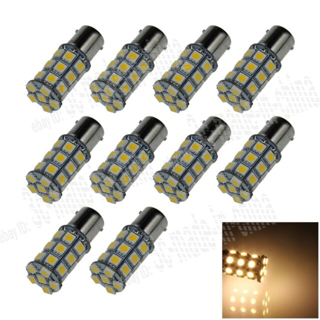 10X Warm White 1156 G18 Ba15s 27 5050 LED Turn Signal Rear Light Bulb Lamp D007