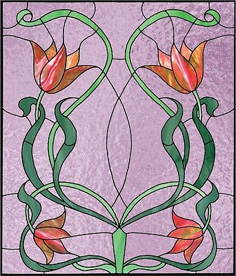 Faux stained glass window cling grapes leaves vines sunblock privacy