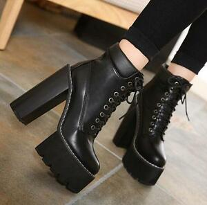 Womens-pu-lace-up-chunky-high-heel-ankle-boots-platform-motorcycle-shoes-punk