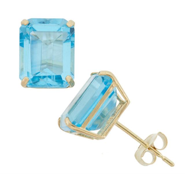 Sterling Silver 2ct Blue Topaz Emerald Cut Studs Earrings Blue Topaz Studs