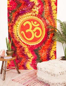 OM Aum Symbol Indian Mandala Tie Dye HIPPIE Boho Wall Hanging TAPESTRY Bedspread