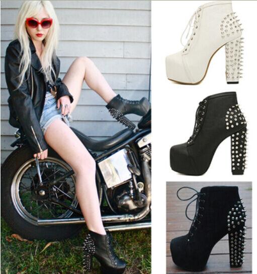 Lace Up  Ankle stivali donna Spike ha studiato Goth Punk Rock Platform High Heel scarpe  prendi l'ultimo