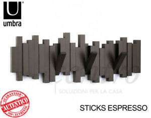 Attaccapanni Design Muro.Dettagli Su Umbra Sticks Attaccapanni Appendiabiti Marrone Da Parete Muro 5 Ganci Design