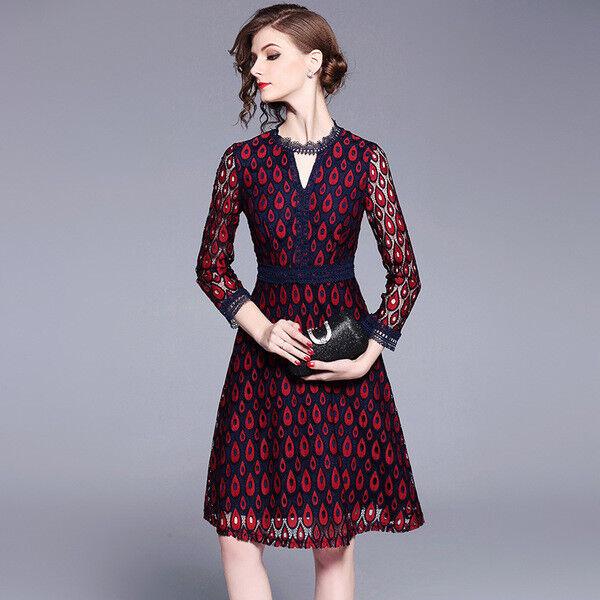 1911bab94ff9 Elegante vestito abito motivi rossi maniche scampanato slim morbido morbido  morbido 4270 3a8edd