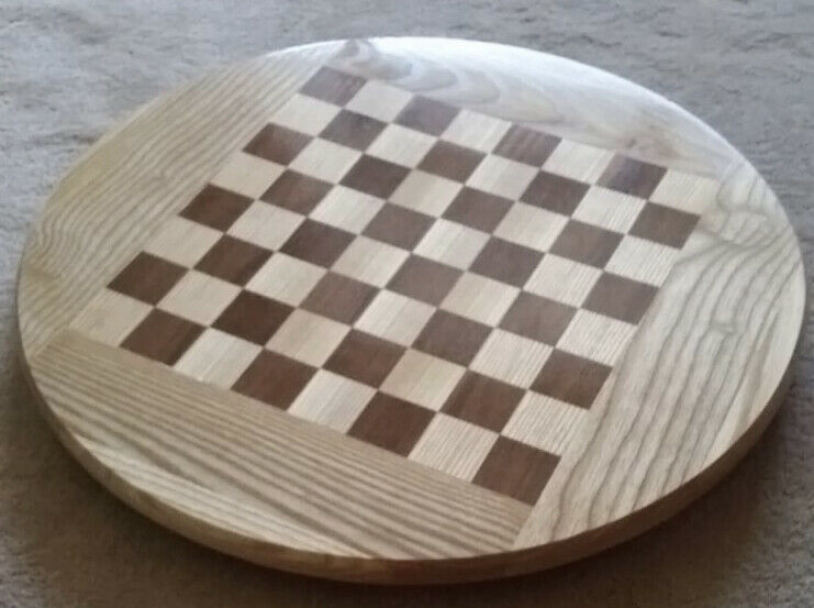 HAND CRAFTED CHESS BOARD LAZY SUSAN