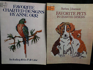 Vintage-Charted-Cross-Stitch-Pattern-Books-Lot-of-2-Dover-Needlework-Series