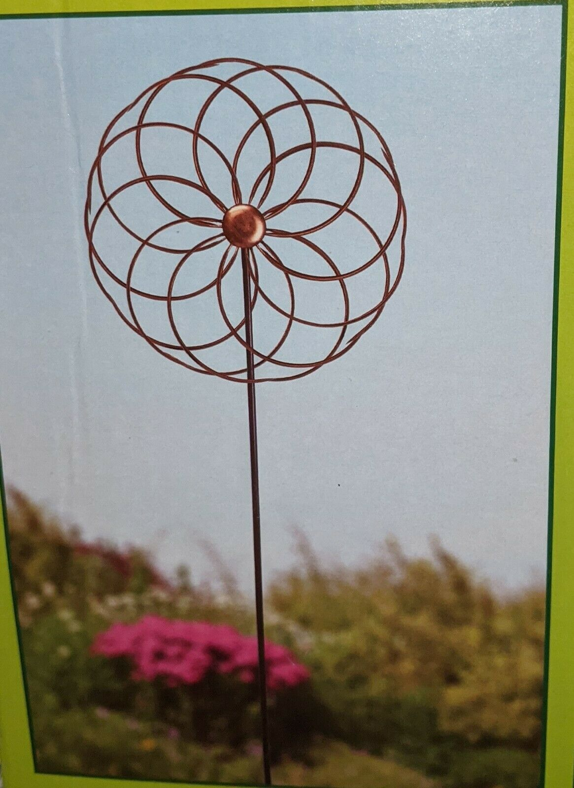 Metal Flower KINETIC WIND SPINNER * Pole/Stake for STANDING * Hook for HANGING