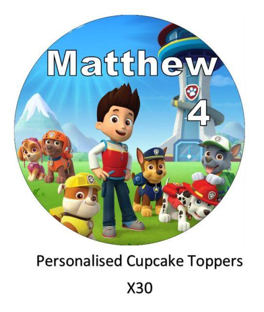 Tortenfiguren Paw Patrol x30 Personalised Cupcake Toppers Edible ...