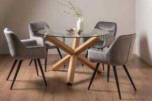 Goya Dark Oak Glass 4 Seat Dining Table & 4 Dali Chairs in Grey Velvet Fabric