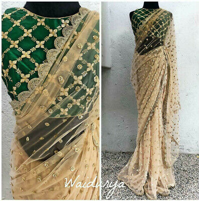New Indian Pakistani Bollywood Designer Net Saree Fancy Wedding Party Wear Sari