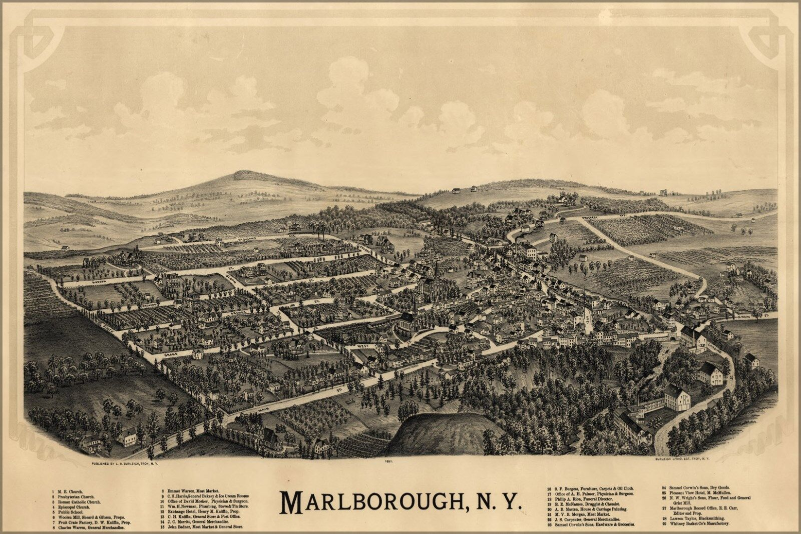 Poster, Many Größes; Map Of MarlbGoldugh, New York 1891