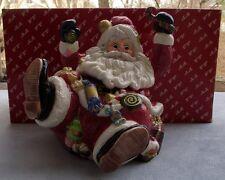 Fitz & Floyd Sugar Plum Santa Christmas Cookie or Biscuit Jar Mint in Box