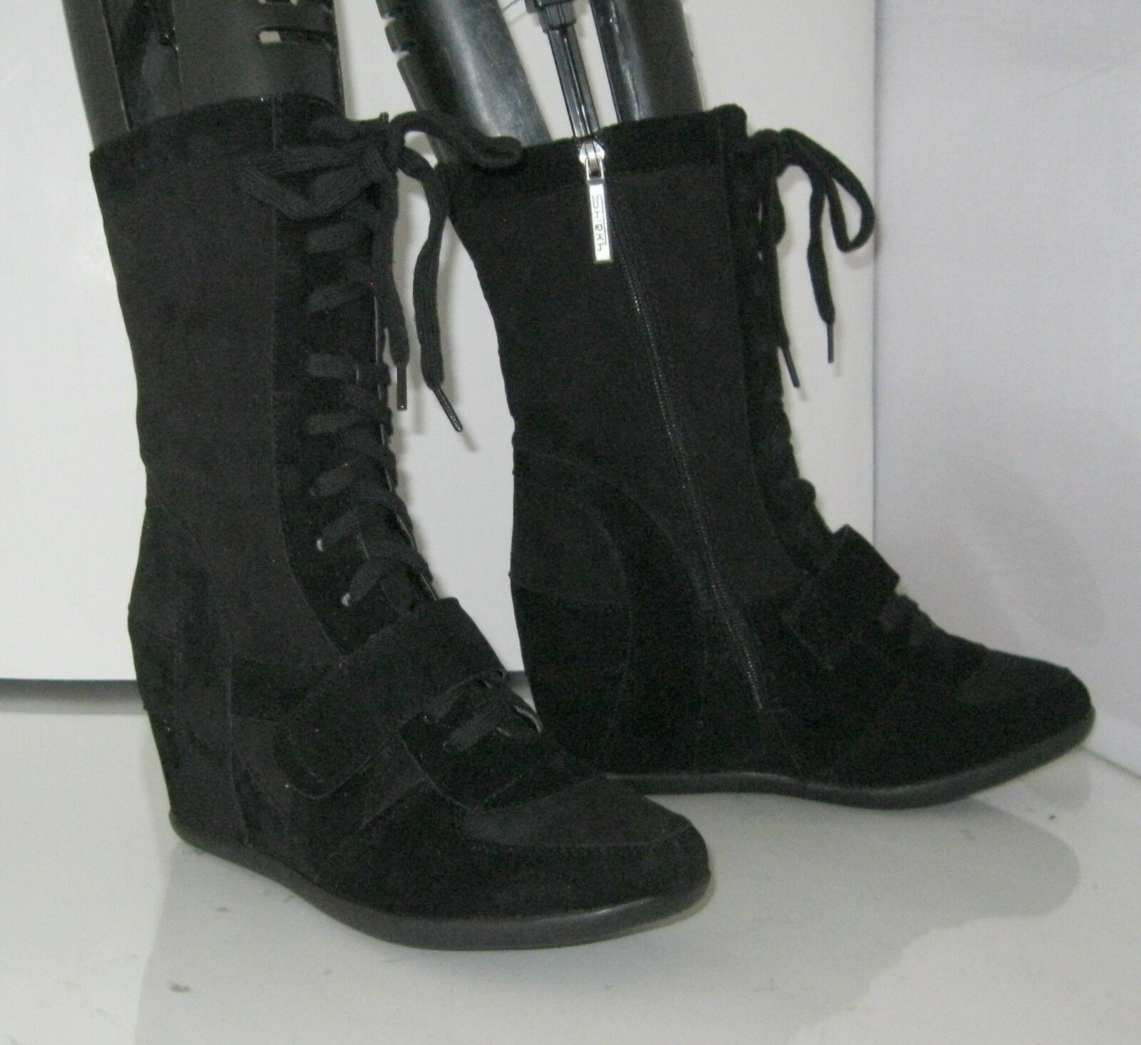 New Black 3.5 High Hidden Wedge Heel Round Toe Mid-Calf Boots Lace Up Size 8.5