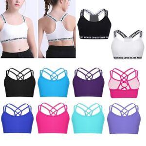 Kids Girls Crop Top Vest Dance Gym Yoga Camisole Sports Training Bra Tank Tops