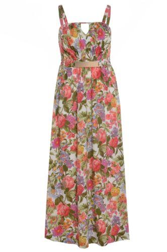 de con floral mujer maxi detalle talla estampado para Cinturón vestido dorado y grande del plisado q60wzHv