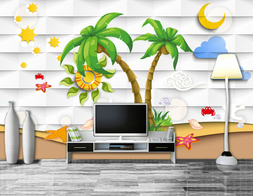 3D Coconut Sea Cartoon Art 2832 Wall Paper Wall Print Decal Wall AJ WALLPAPER CA