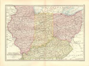 1890 Antique Map Usa Ohio Indiana Illinois Kentucky Ebay