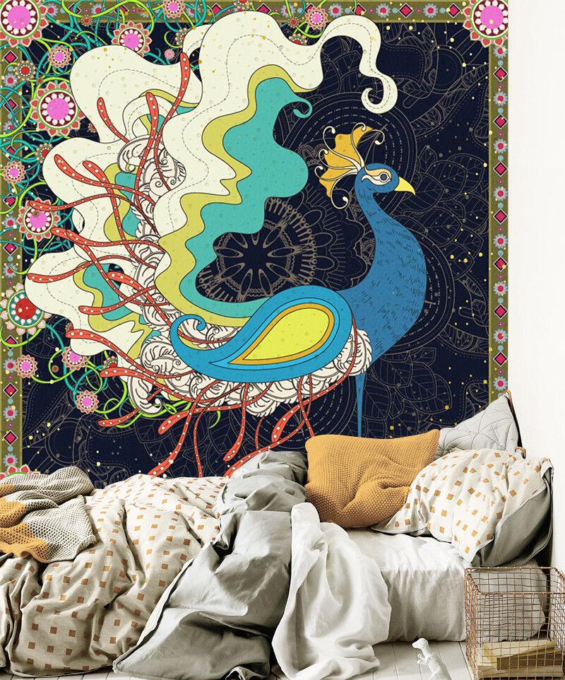 3D Doodle Pfau Gemalt 8476 Tapete Wandgemälde Tapeten Bild Familie DE Lemon  | Hochwertige Materialien  | Online Shop Europe  | Starke Hitze- und Hitzebeständigkeit