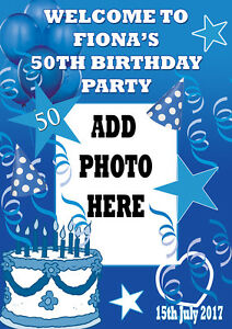LARGE PHOTO BLUE BIRTHDAY POSTER BANNER PERSONALISED ANY NAME TEXT PHOTO 50 40