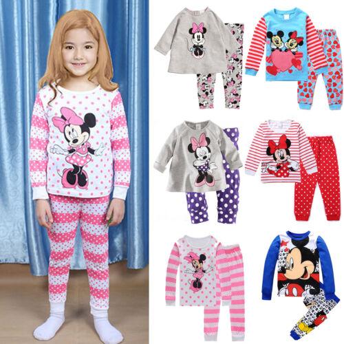 Kinder Jungen Mädchen Minnie Maus Pyjama PJS Nachtwäsche Schlafanzüge Outfit Set