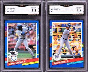 KEN GRIFFEY JR GMA 8.5 LOT: 1991 DONRUSS #77 #49, MARINERS ALL-STAR NM-MT+ psa