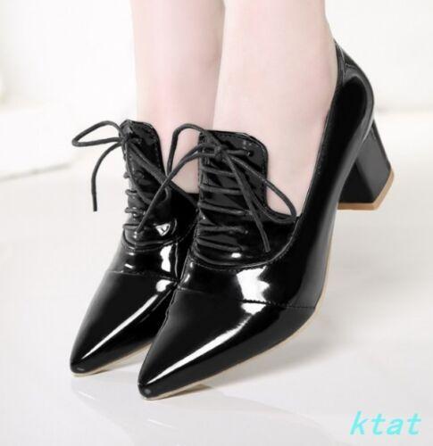 Hot Chaussures femmes bout pointu et Lacets Talon Bloc Chaussures vernies Nouveau lacets