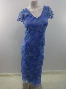 POSITIVE-ATTITUDE-WOMENS-BLUE-amp-PURPLE-CHIFFON-FLORAL-DRESS-DRESS-SIZE-6