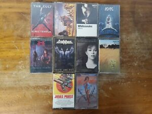 Classic Rock Cassette Tapes Lot Of 10 AC/DC, Whitesnake, And More