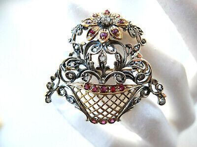 Brosche Als Blumenkorb Besetzt Mit Diamantrosen Und Rubinen In Gold Und Silber