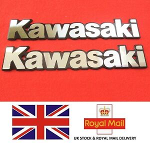 Kawasaki Retro Metal Emblem Badge Fuel Tank Silver Black Uk Stock Ebay