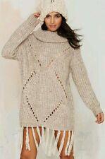 NASTY GAL Glamorous Fringe Tassel Sweater Cut-out Cowl Turtle Neck Mini Dress M