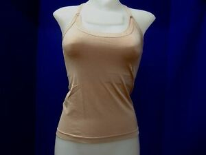 c7297648c0 Image is loading Camisole-with-Built-in-Bra-Microfiber-Spandex-Beige-