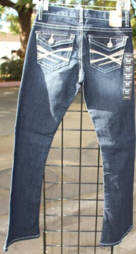 Rue 21 Mid Rise Boot Cut Dark Blue Jeans Twenty One NWT Design on Pocket