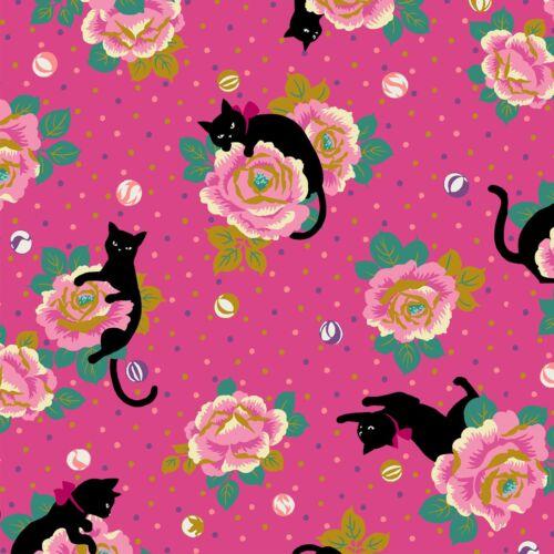 Neko IV Cotton Fabric Cats /& Flowers on Pink with Metallic Gold