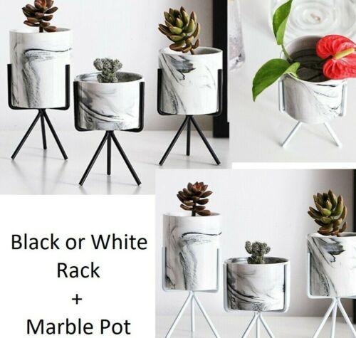 Moderne Céramique Plante Support Marbre pot noir blanc fer Rack succulentes Plantes