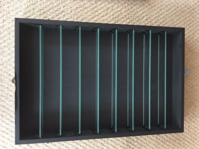 Glass fronted display wooden cabinet with 9 shelves (8 glass)
