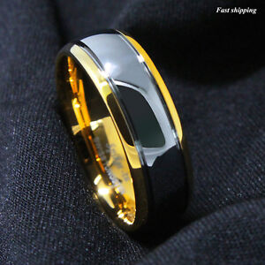 8-6mm-Dome-18K-Gold-Silver-Mens-Tungsten-Ring-Wedding-Band-Bridal-ATOP-Jewelry