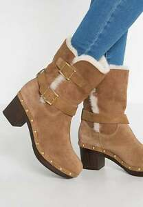 ddb61b0ae64 New UGG BREA BNIB £190 Suede Leather Fur Women's Ankle Shoes Boots ...