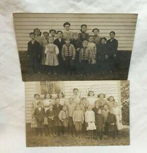 Two-1910-ALBION-ILLINOIS-SCHOOL-Real-Photo-Postcards-RPPC