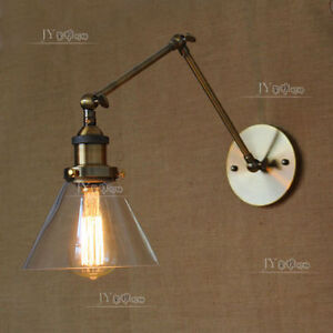 20TH C. Library Clear Glass Swing Arm Sconce Bronze Finish Wall Lamp RH Light eBay