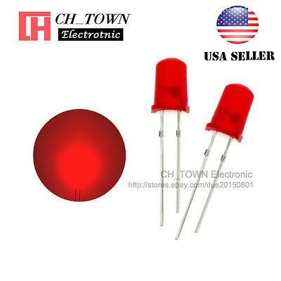 1000pcs 5mm Red Round Diffused Red LED Light Lamp Leds