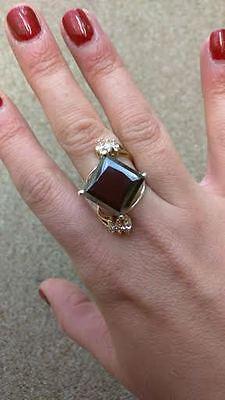 Huge 14ct Black Diamond .35 ct white diamond 14k gold & SS Engagement ring  6.5